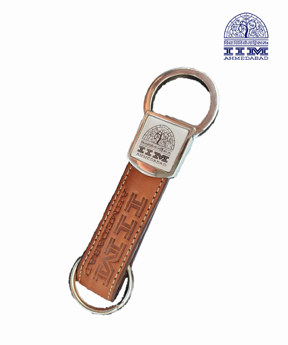 Key Chain Domed Square Leather