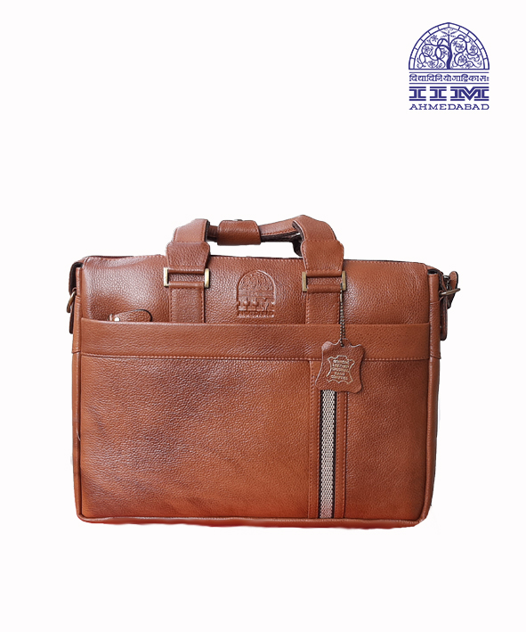 Laptop Bag Leather With Canvas Trim Tan