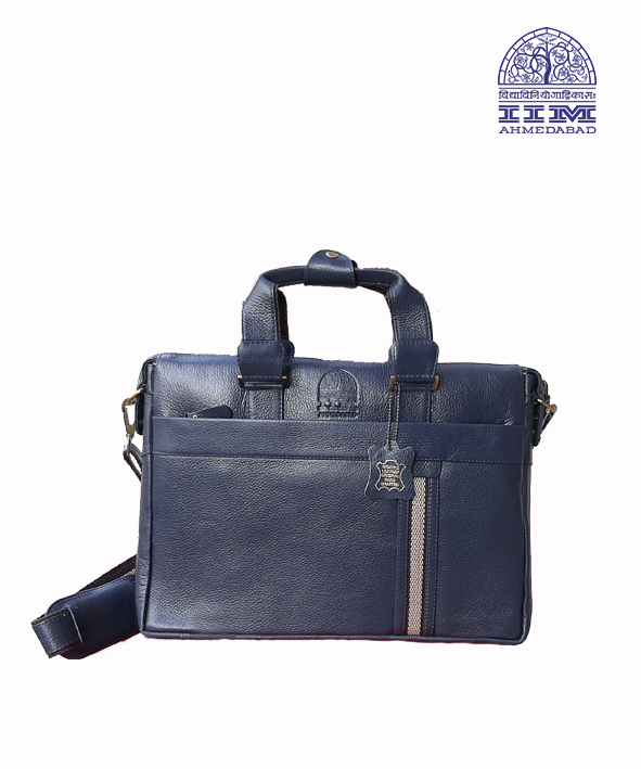 Laptop Bag Leather With Canvas Trim Navy Blue