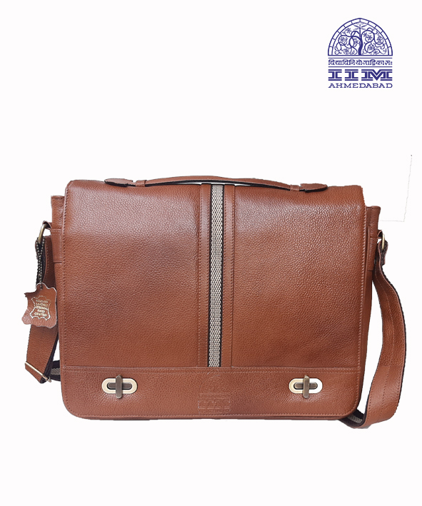 Messenger Laptop Bag Leather With Canvas Trim Tan