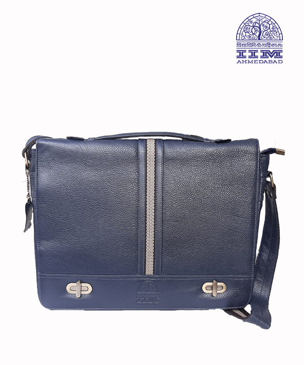 Messenger Laptop Bag Leather With Canvas Trim Navy Blue