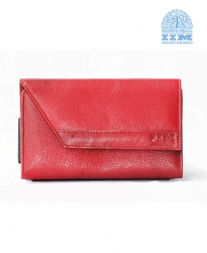 Designer Ladies Clutch - Genuine Leather In Red Colour