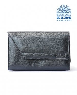 Designer Ladies Clutch - Genuine Leather In Classic Black Colour